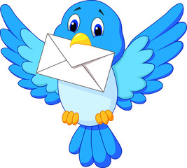 Cute bird delivering letter