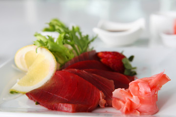 Maguro Sashimi sushi on the plate in restaurant