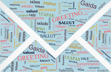 words cloud of greeting phase in different languages on card's e