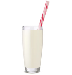 Glass of milk with tube isolated on white background. Vector ill