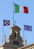 flags of Italian State on the Quirinal Hill, where houses the Pr
