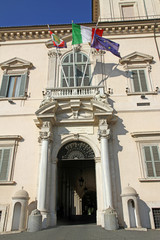 majestic entrance of the Quirinale palace where houses the Presi