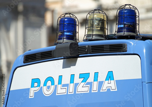 gleaming Italian police van with lights
