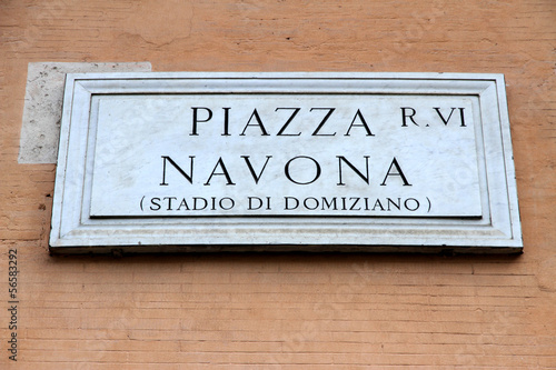 marble road sign with an indication of the Piazza Navona in Rome