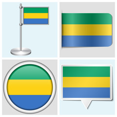 Gabon flag - set of various sticker, button, label and flagstaff