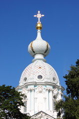 Dome of Smolny Cathedral in Saint Petersburg, Russia