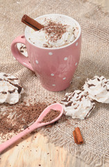 Hot cocoa drink with cream