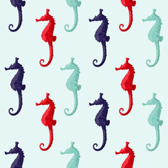 Abstract triangular seahorses. Seamless pattern