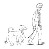 Skinny guy and dog