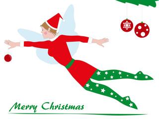 cartolina di natale con elfo che vola