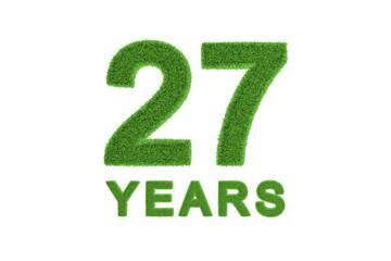 27 Years green grass anniversary numbers