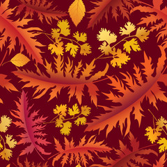 Autumn background. Fall leaves seamless pattern.