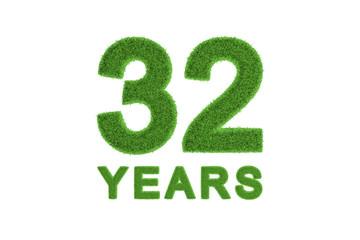 312 Years green grass anniversary numbers
