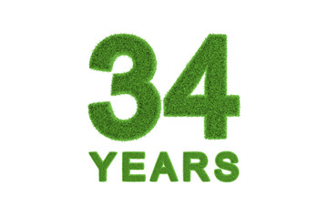 34 Years green grass anniversary numbers