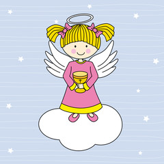 Girl first communion. Angel on a cloud