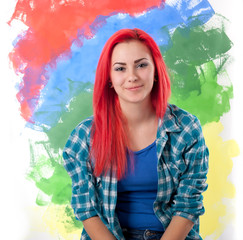 smiling girl with bright red hair on a colorful background