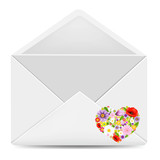 White Envelope With Flowers Heart