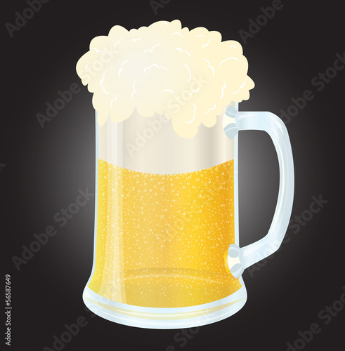 Glass with light beer