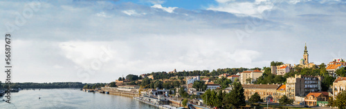 Belgrade Tourist Port On Sava River With Kalemegdan Fortress And