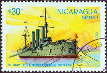 Russian revolution era cruiser Aurora (Nicaragua 1987)