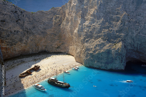 boats and shipwreck beach at Zakynthos island, Greece