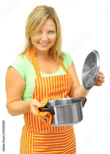 Woman with pan, isolated on white