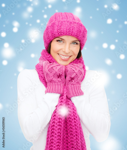 woman in hat, muffler and mittens