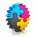 Fototapety CMYK puzzle gear