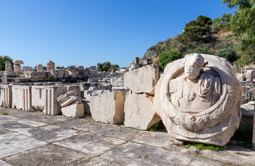 Bust of Roman Emperor Marcus Aurelius in ancient Eleusis, Greece