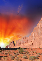 Arches National Park, Utah. Gorgeous rock formations with sunset