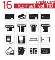 Vector black  credit cart  icons set