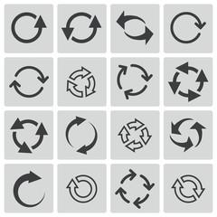 Vector black refresh icons set