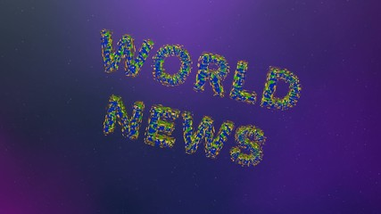 Animation, the world news on the background of sky