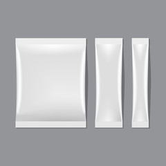Vector Set of White Blank Sachet Packaging