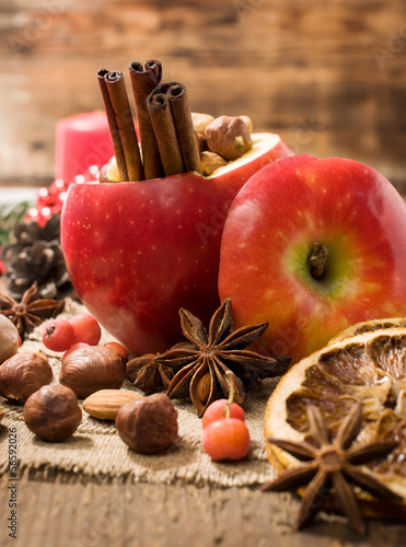 baked apple with Christmas spices and nuts