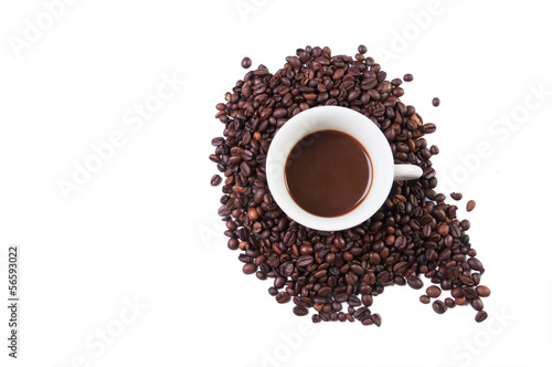 Cup in coffe beans