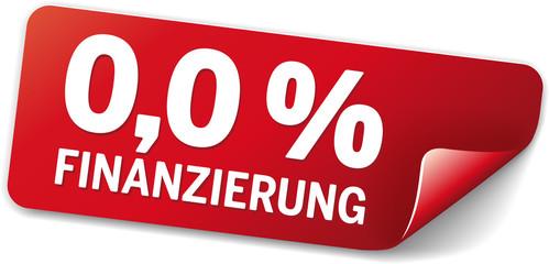 rotes Label 0,0 Prozent finanzierung