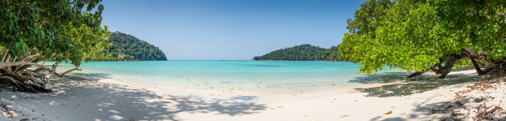 Huge Panorama Wild Tropical Beach. Turuoise Sea at Surin Marine