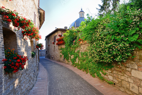 Alley in the old town, Assisi, Umbria, Italy