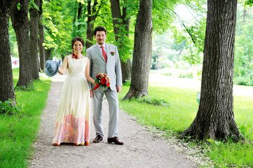 Bride and groom posing together