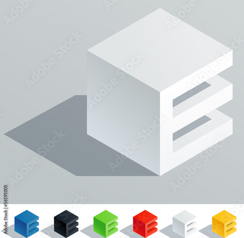 Solid colored letter in isometric view. Letter E