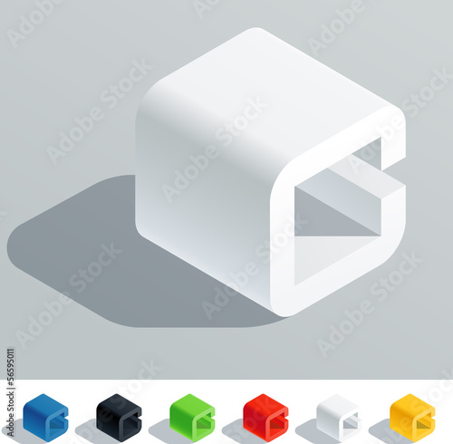 Solid colored letter in isometric view. Letter C