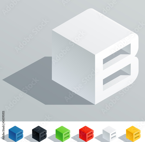 Solid colored letter in isometric view. Letter B