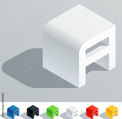 Solid colored letter in isometric view. Letter A