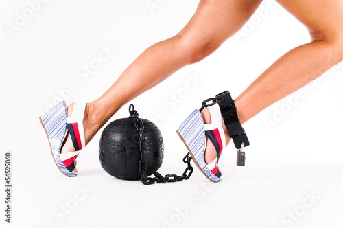female foot chained to the prison ball