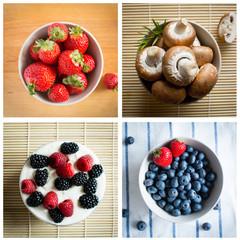 Strawberries, raspberries, bueberries and champignons