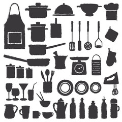 Hand drawn kitchen silhouette icons