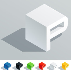 Solid colored letter in isometric view. Letter P