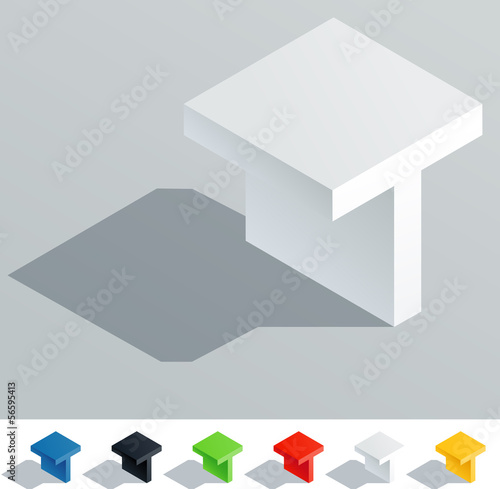 Solid colored letter in isometric view. Letter T