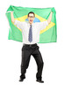 Excited male holding a brazilian flag